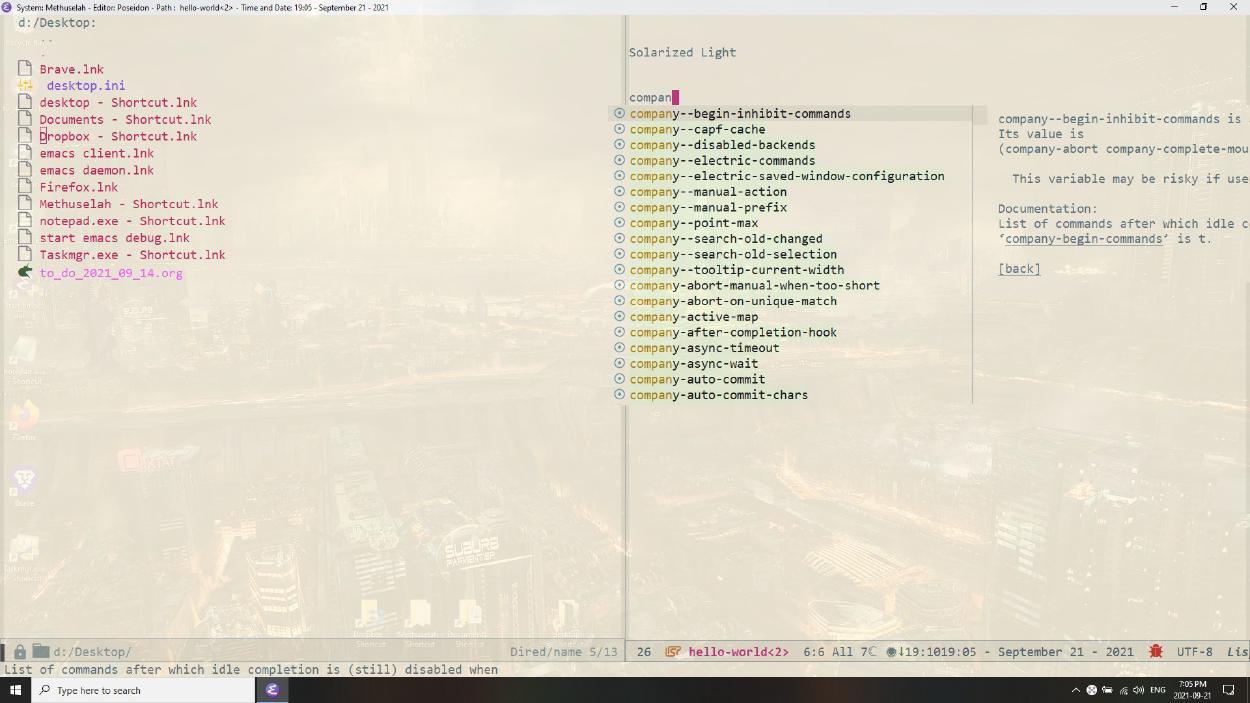 Emacs solarized light theme, poseidon-customization
