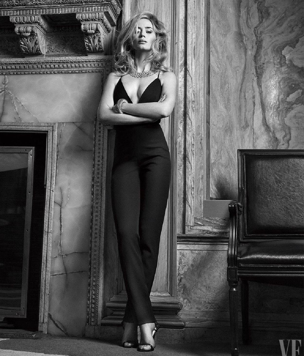 Emily Blunt wears dress pants